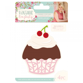 Sara Signature Collection Vintage Tea Party Metal Die – Cherry Cupcake